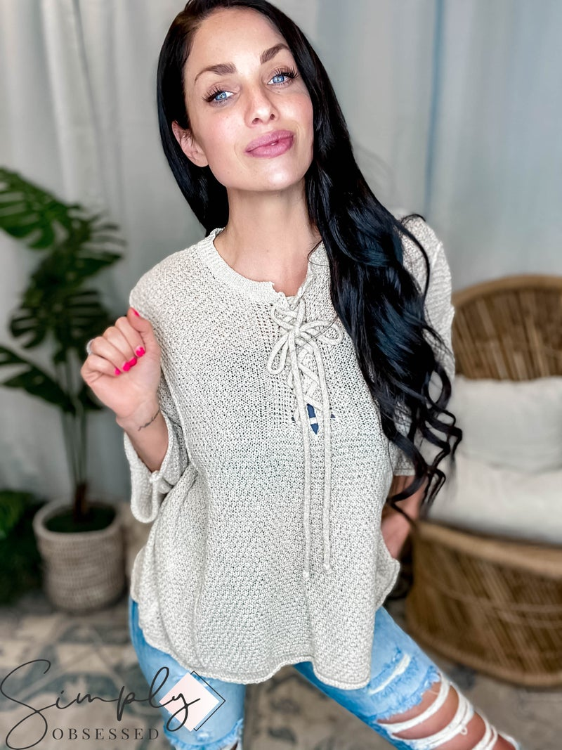 POL - Sweater Top with V-Neck Strap Detail