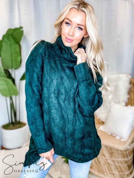 Listicle - Cable Knit Turtle Neck Tunic Sweater Dress