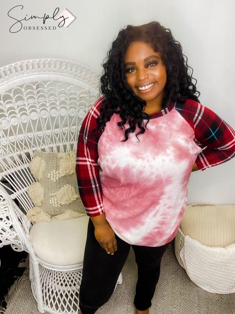 Crepas - Tie dye brushed knit long sleeve top with contrast pattern sleeves