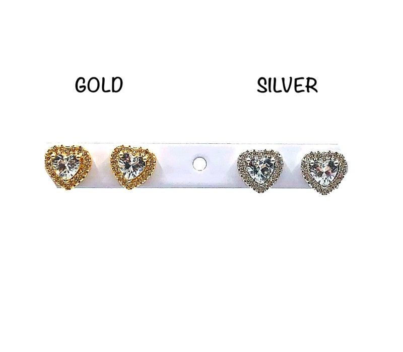Luxury Heart Stud CZ Earrings
