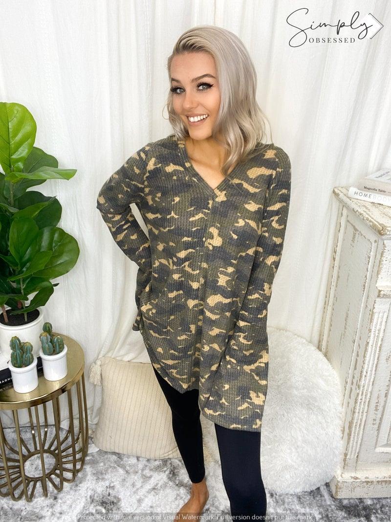 Sapphire O - Camo print waffle knit long sleeve hoodie top