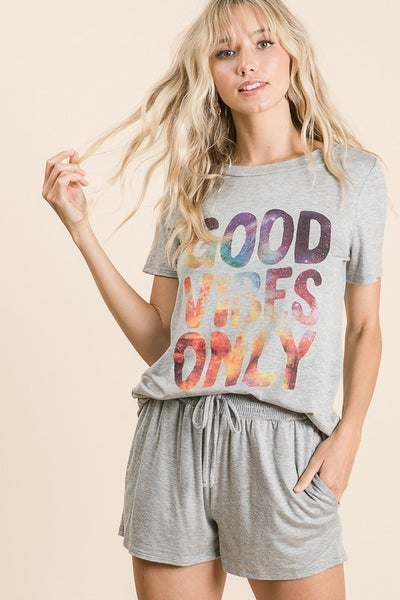 """Vanilla Bay - """"Good Vibes Only"""" short sleeve graphic tee"""