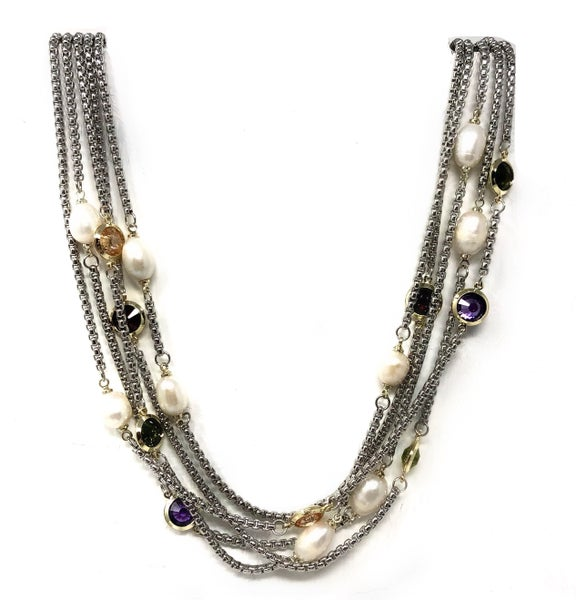 Triple Strand Pearl Accent Necklace