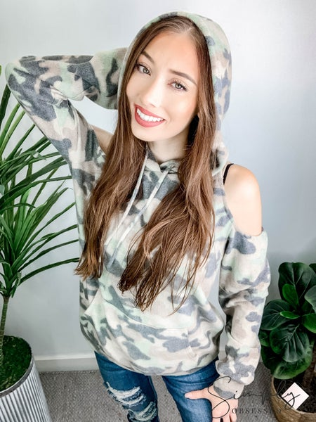 Camo Print Brushed Knit Hoodie Top Featuring Cold Shoulder and Pocket Detail
