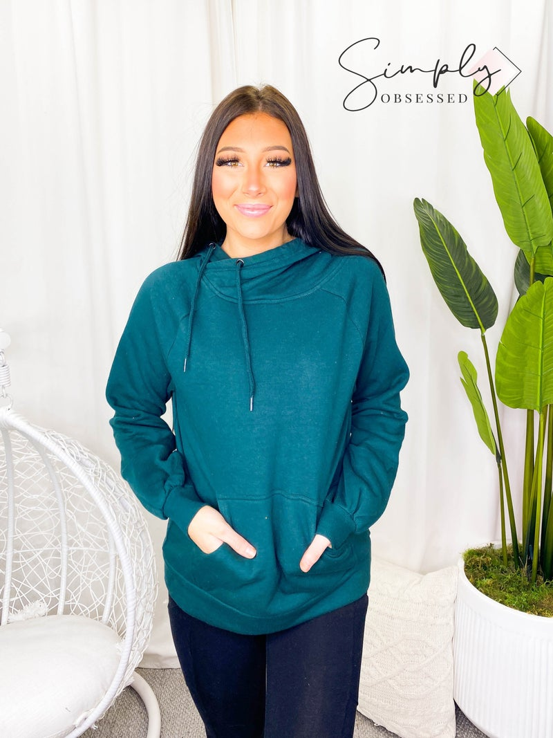 ZENANA-SIDE TIE HOODIE SWEATSHIRTS WITH KANGAROO POCKET