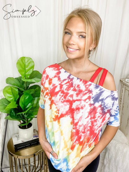 White Birch - Short sleeve tie dye knit top with a off the shoulder detail