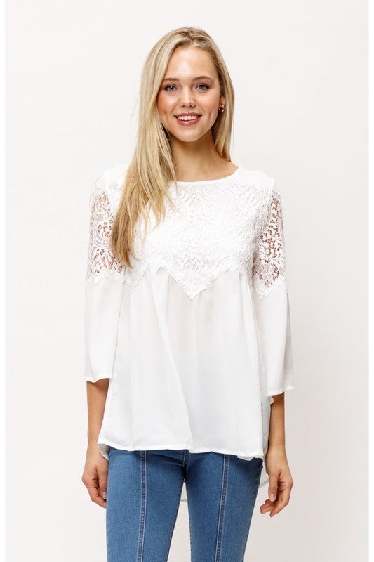Mittoshop - Lace front bell sleeve woven blouse top