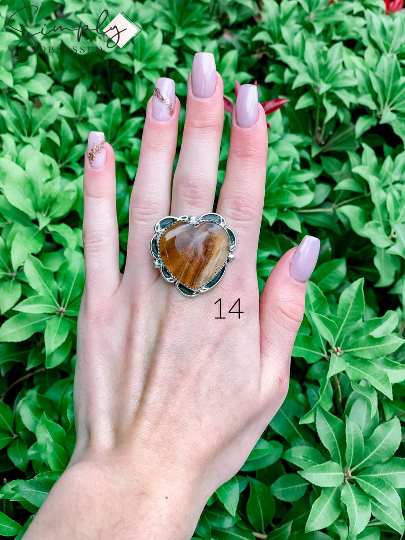 M & S - Montana Agate Heart Ring
