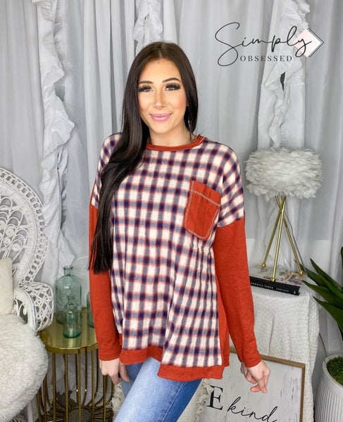 Easel - Solid Long sleeve mix plaid box top