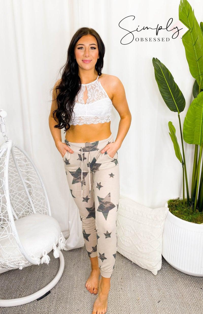 Wanna B - Camo star print loungewear drawstring pants
