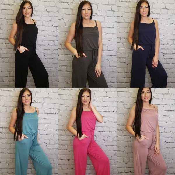 Spaghetti strap jumpsuit with pockets