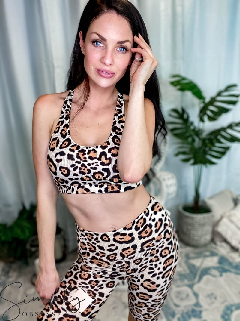 143 Story - Leopard Rib Textured Fitted Top