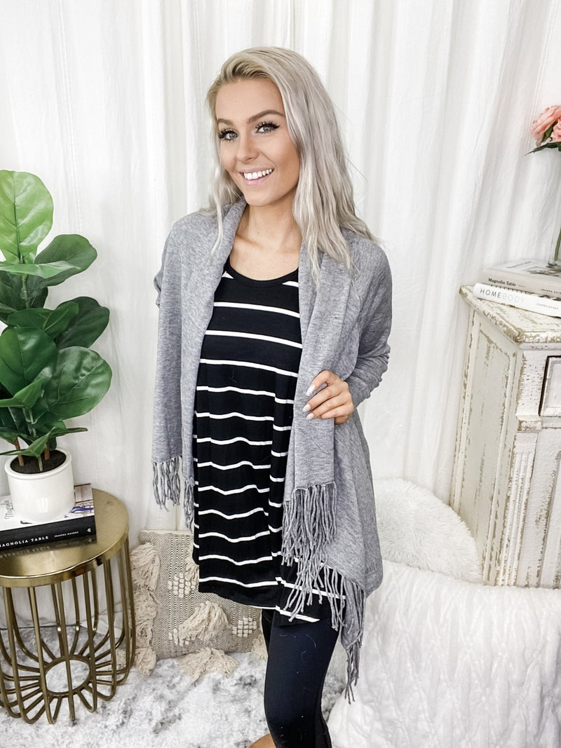 Style Melody - Fringed open front draped poncho wrap cardigan