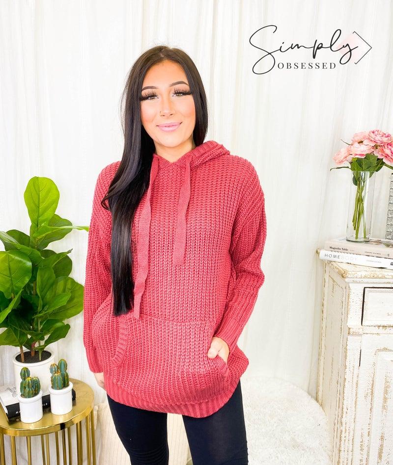 Hooded heavy knit sweater(plus)