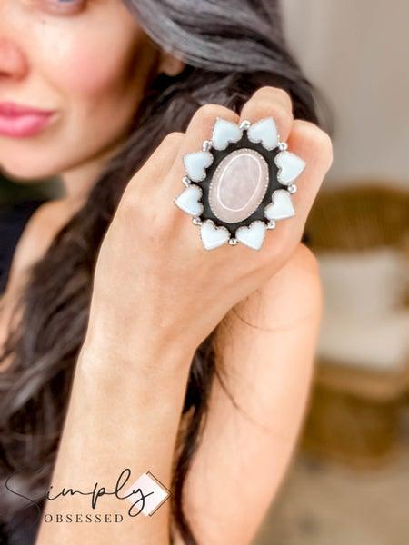 M&S Sterling Silver - Rose Quartz w/White Ceramic Cluster Ring