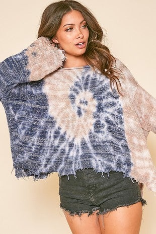 Peach Love California - Tie Dyed Long Sleeve Knit Top