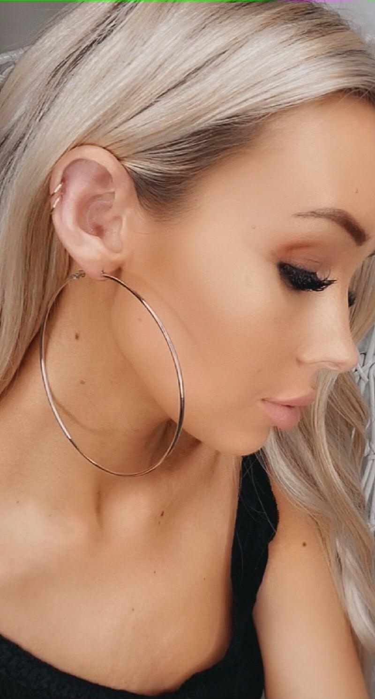 Boho Love - Silver oversized hoop earrings