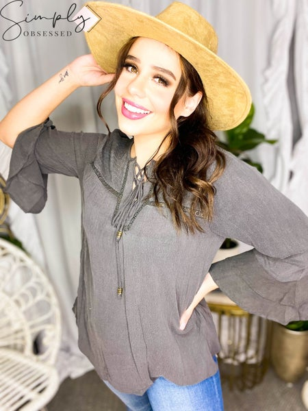 Allie Rose - Double Bell Smocked Lace Up Washed Rayon Gauze Blouse