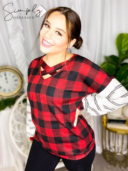 Vanilla Bay - Plaid top with criss cross detail and striped long sleeves