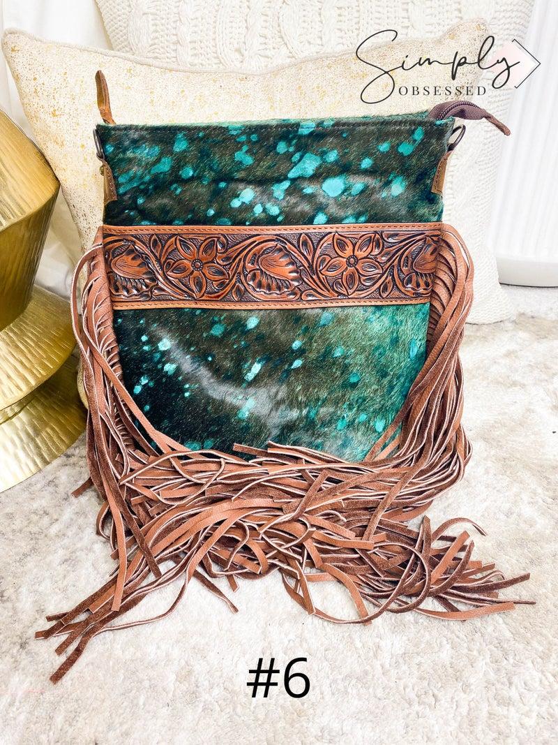 American Darling - Acid wash tassel detail hand crafted leather cross body bag