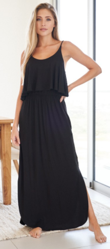 White Birch - sleeveless solid knit maxi dress with scoop neck