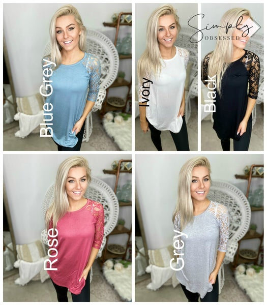 DEAL Luxe rayon lace half sleeve round neck & round hem top