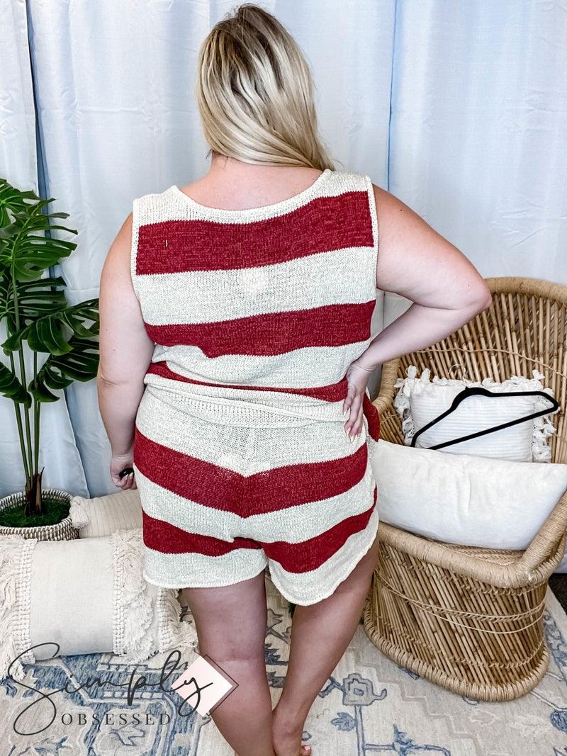 Oddi - Sleeveless, V-Neck Striped Loose Knit Sweater w/ Elastic Waistband Short Set