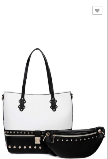 2 in 1 modern studded two tone tote with waist bag