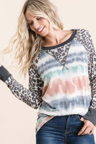Vanilla Bay - Long sleeve tie dye leopard print contrast top