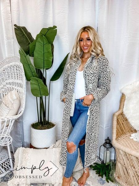 Veveret - Animal Print Twill Long Jacket (All Sizes)