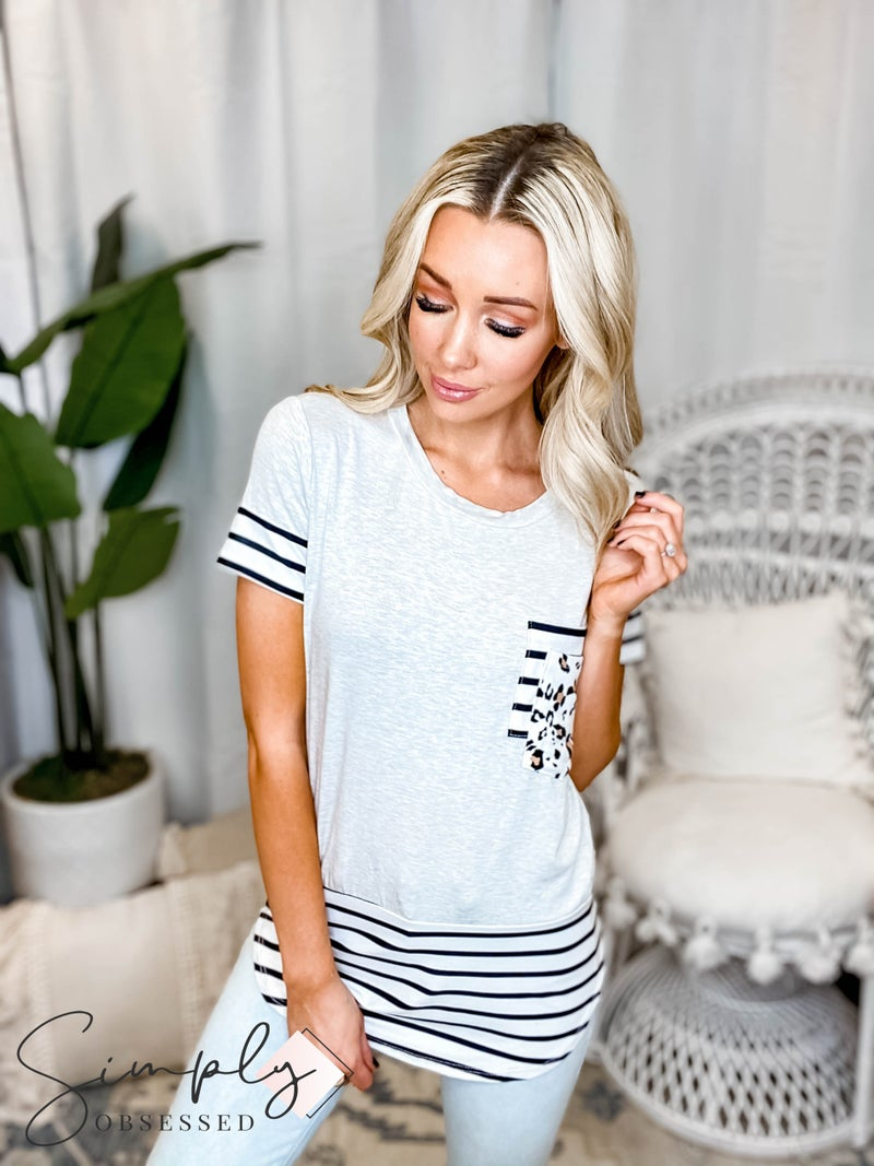 Vanilla Bay - Solid top with stripe contrast and leopard pocket