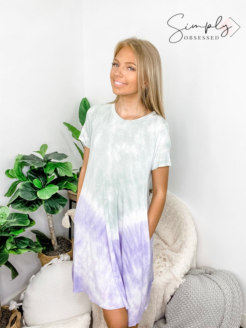 FSL Apparel - Short sleeve tie dye short dress with pockets