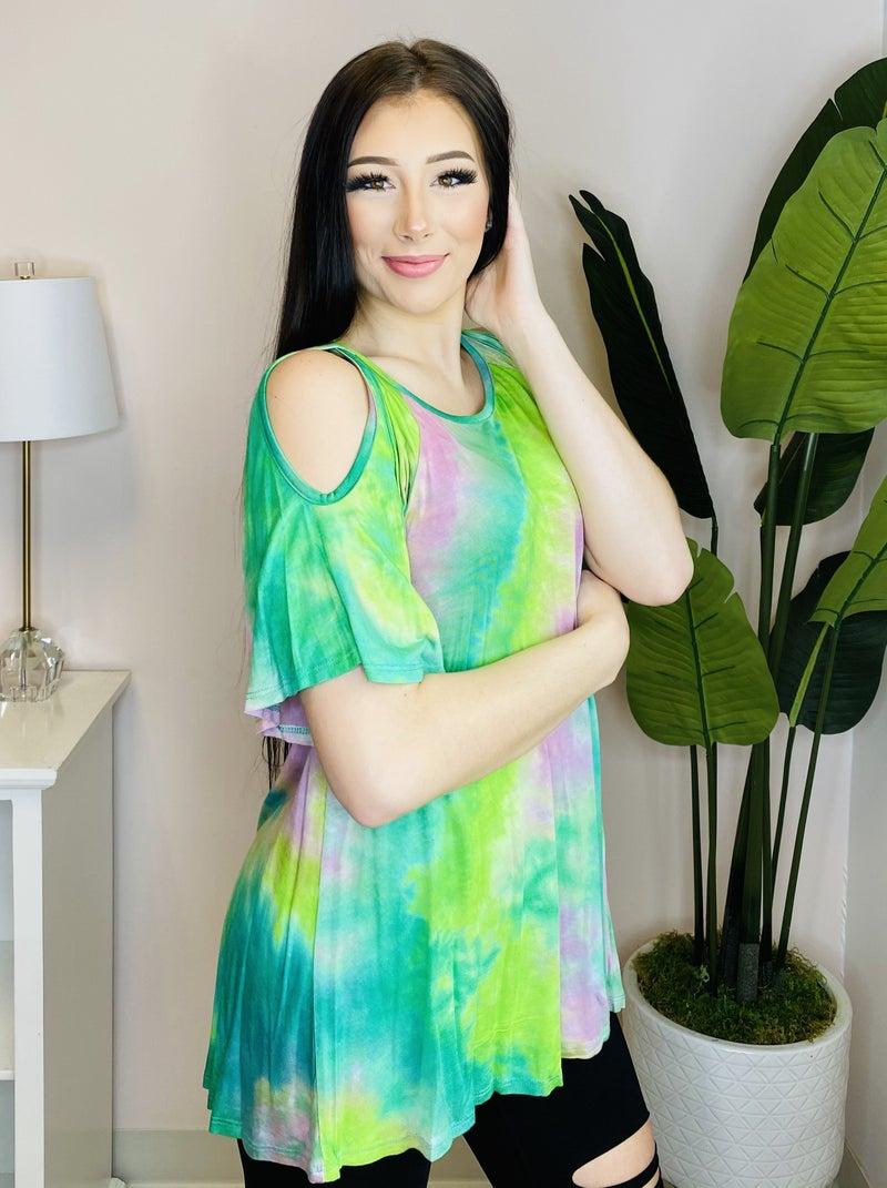 Neon Tie Dye Print Cold Shoulder Bell Sleeve Top