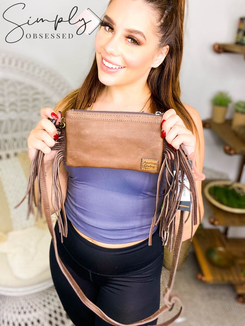 American Darling - Leather Wallet with Fringe and Acid Wash Body