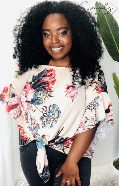 Lizette - Off Shoulder Floral Tie Front High Chiffon Blouse