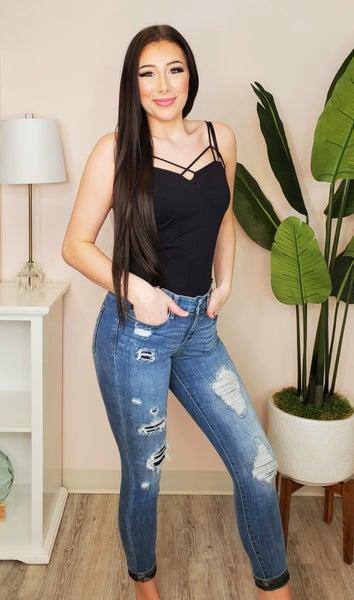 Judy Blue - Camo patch skinny jeans