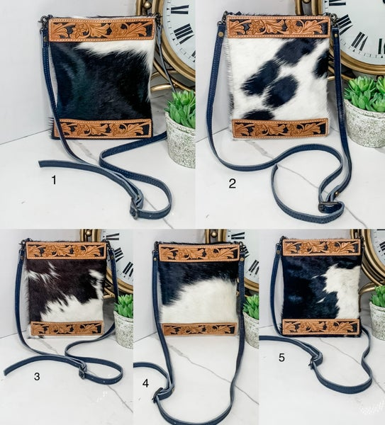 AMERICAN DARLING-SIDE BAG WITH COW HIDE AND LEATHERWORK