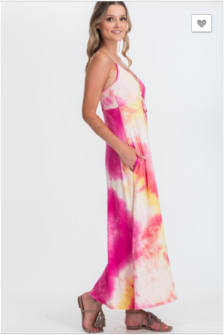 CY Fashion - Tie dye summer dress featured in a v neckline sleeveless with front ruched self tie detail