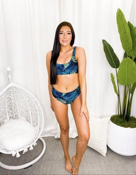 SHEWIN-Tropical Print U Neck Swim Top