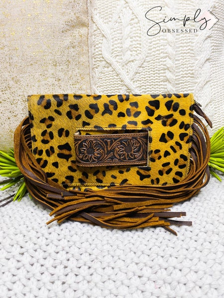Hand crafted leather work cheetah print handbag