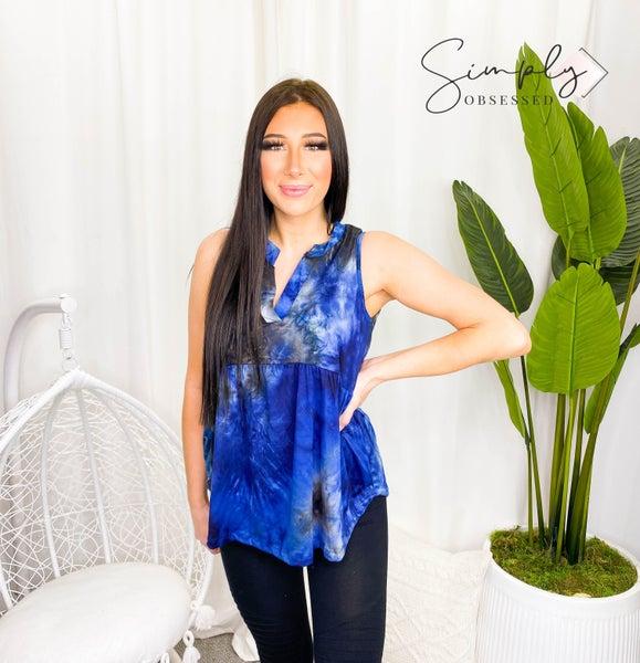 Sew In Love - Sleeveless soft tie dye v-neck knit top