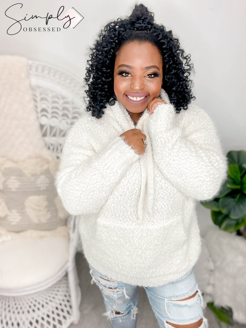 White Birch - Long sleeve super soft hooded sweater with kangaroo pocket (all sizes)