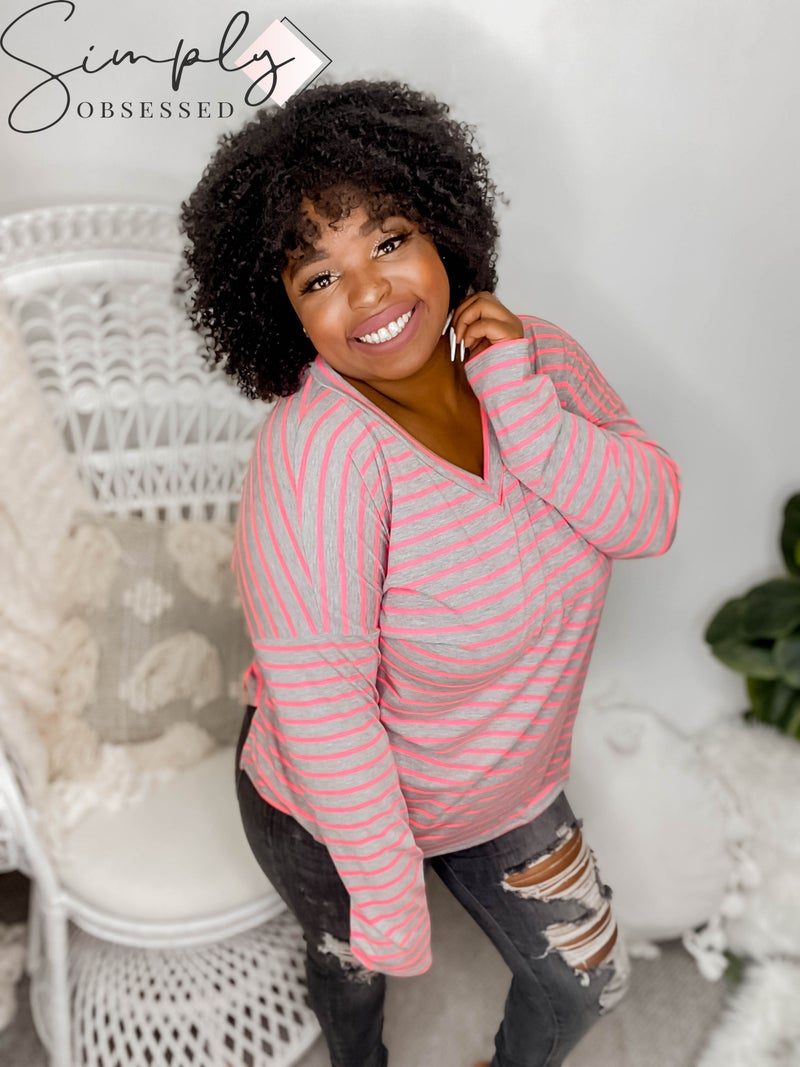 Sew In Love - V Neck Long Sleeve Striped Top