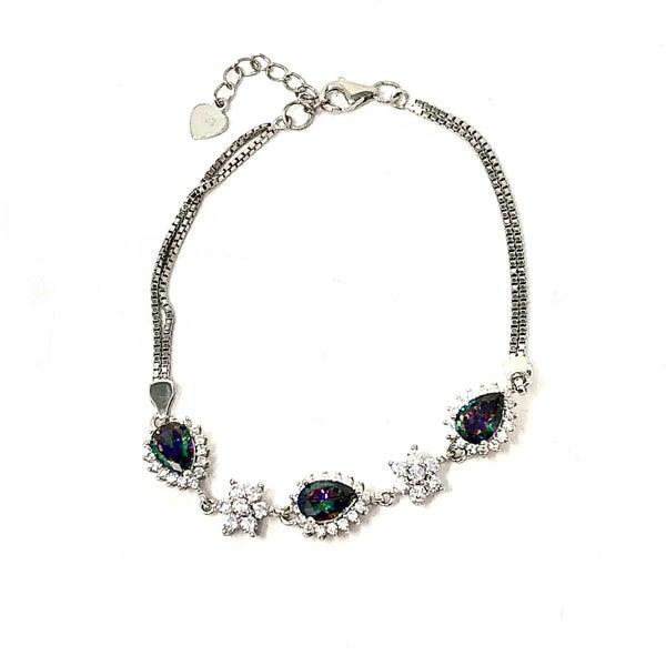 Tear Drop Multi Sterling Silver Bracelet