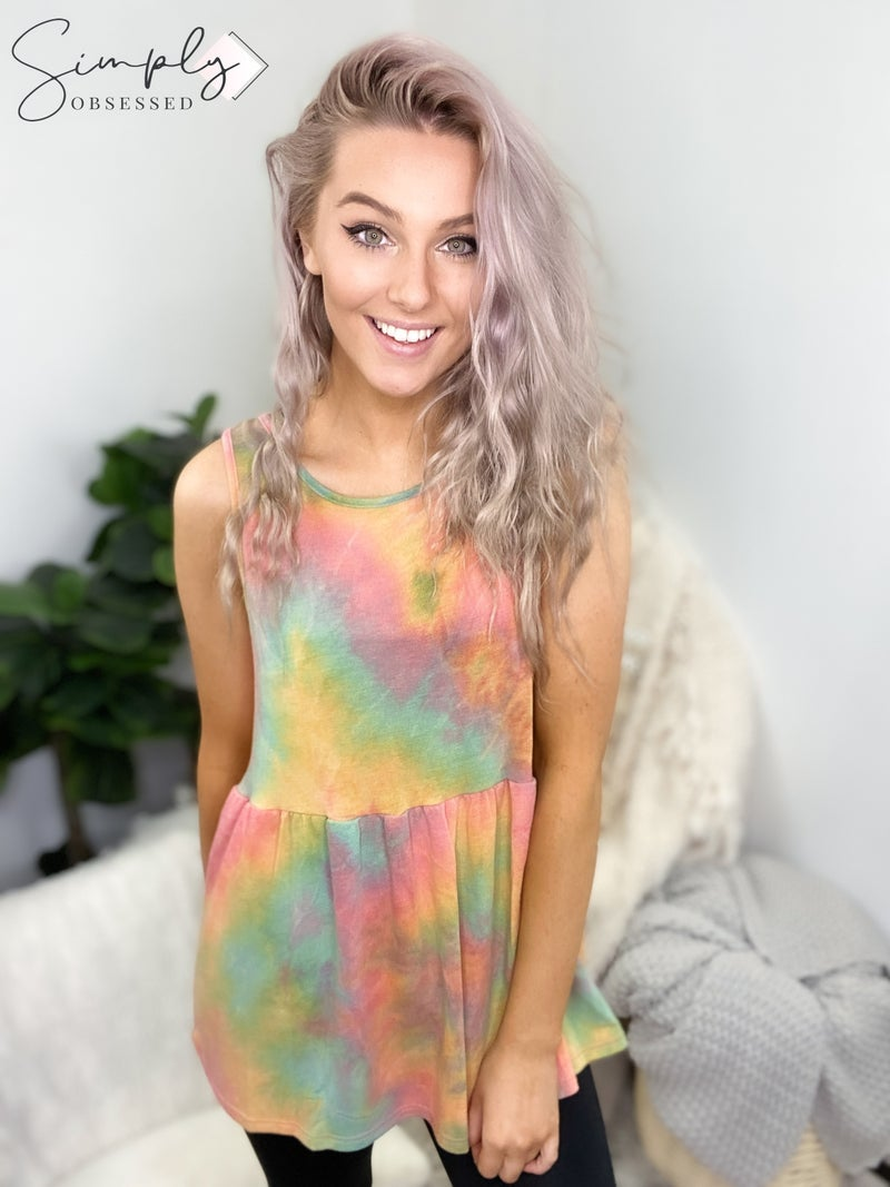 Vine & Love - Sleeveless tie dye babydoll top