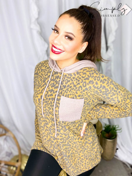 Sew In Love - Long Sleeve Leopard Hoodie Top with Front Pocket (All Sizes)