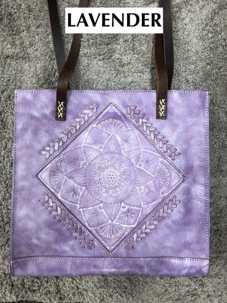 LEADERS IN LEATHER - Mandala Saddle Strap Tote Handbag Tooled Leather