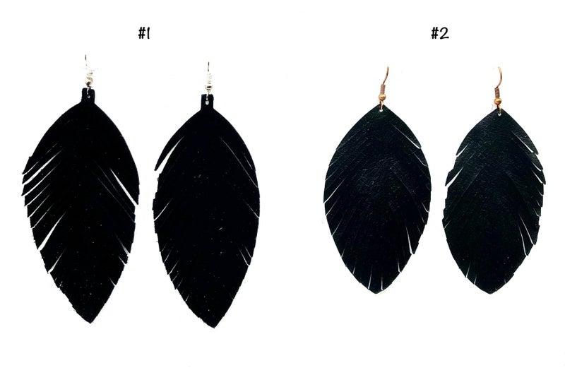 JJ - Black Leather Feather Earrings