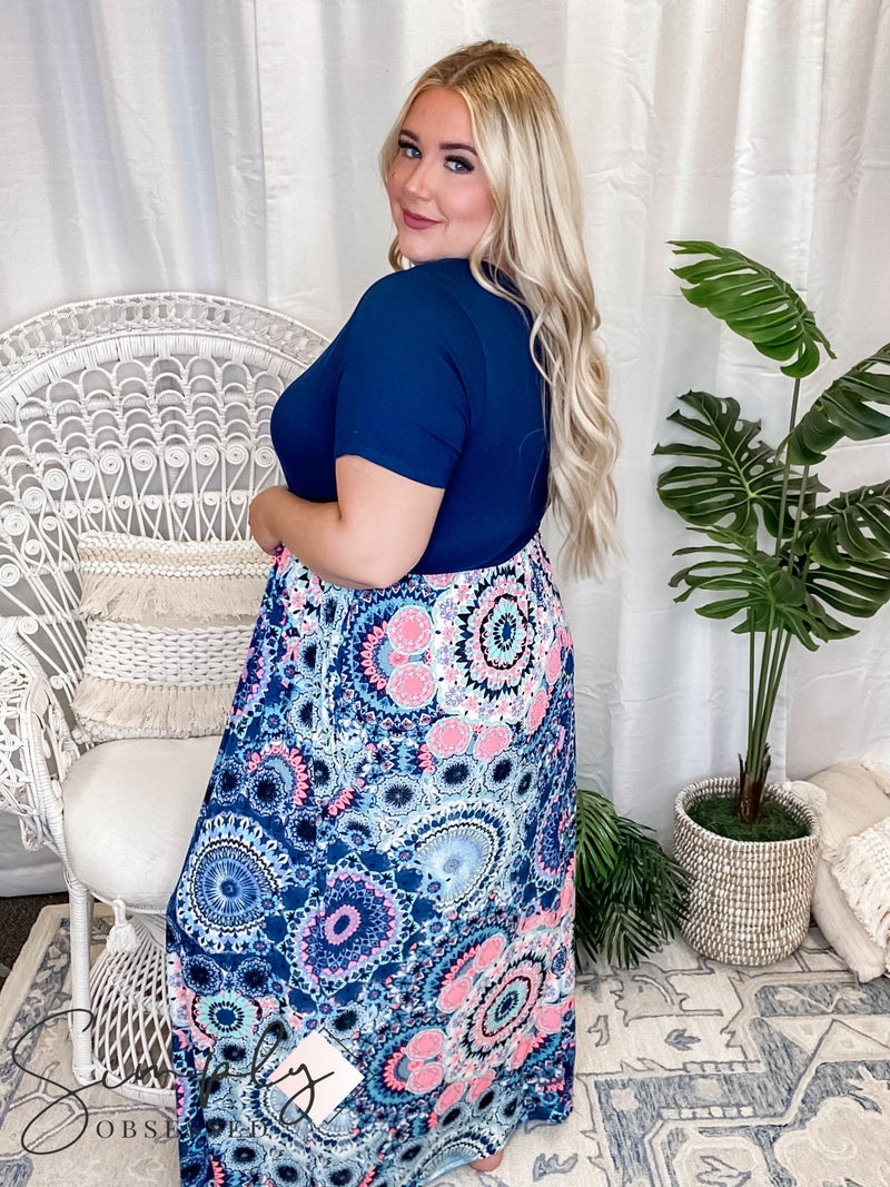 Sew In Love - Floral Print Color block Maxi Dress with Pockets