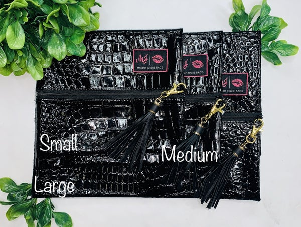 Midnight gator makeup junkie bag with MYSTERY tassel